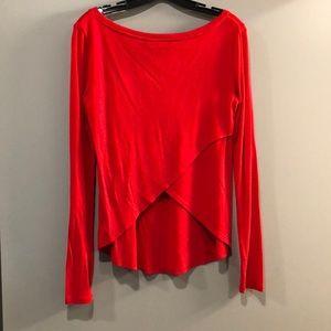 Red crisscrossed back long sleeve shirt